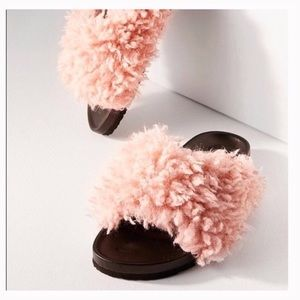 Faux shearling pool slide slippers pink